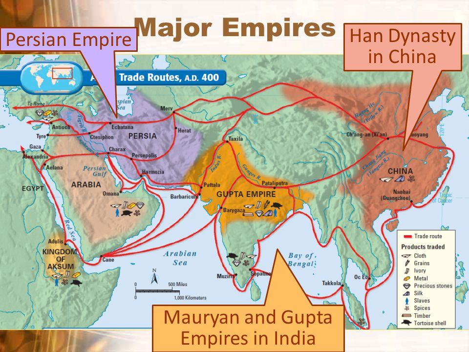 Major Empires Persian Empire Mauryan and Gupta Empires in India Han Dynasty in China