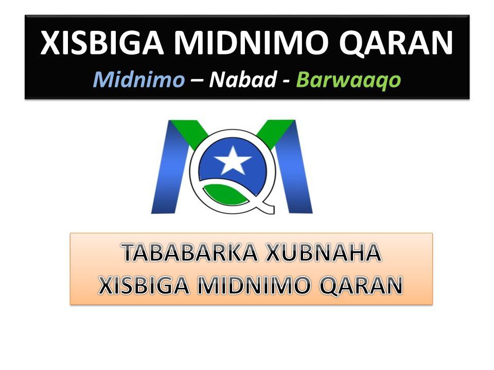 XISBIGA MIDNIMO QARAN Midnimo – Nabad - Barwaaqo