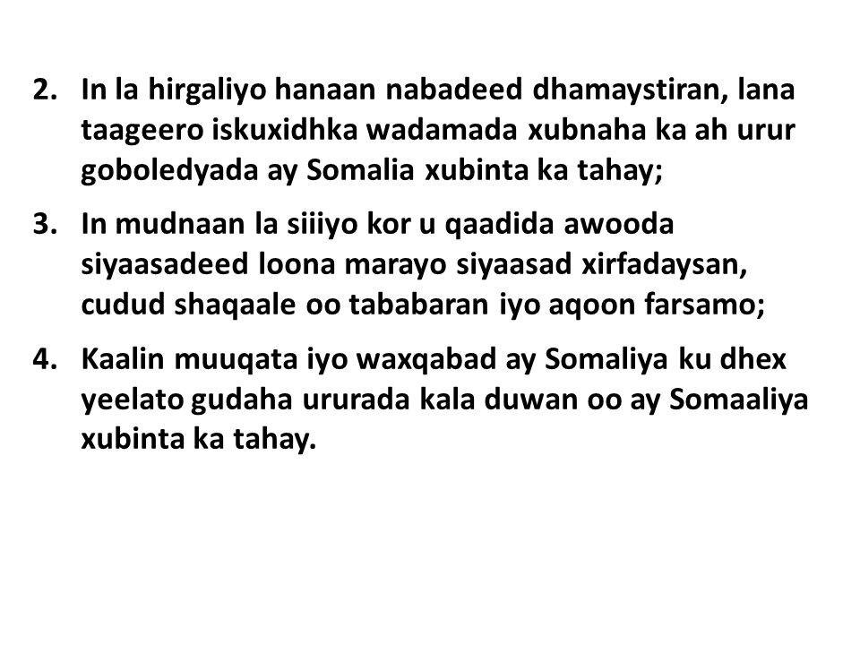 2.In la hirgaliyo hanaan nabadeed dhamaystiran, lana taageero iskuxidhka wadamada xubnaha ka ah urur goboledyada ay Somalia xubinta ka tahay; 3.In mudnaan la siiiyo kor u qaadida awooda siyaasadeed loona marayo siyaasad xirfadaysan, cudud shaqaale oo tababaran iyo aqoon farsamo; 4.Kaalin muuqata iyo waxqabad ay Somaliya ku dhex yeelato gudaha ururada kala duwan oo ay Somaaliya xubinta ka tahay.
