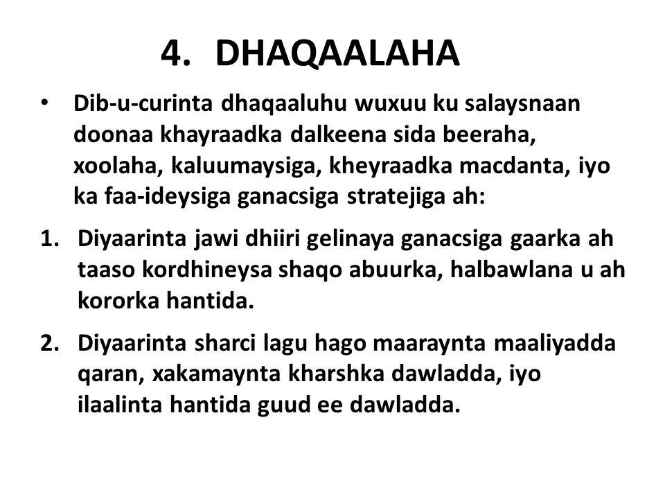 4.DHAQAALAHA Dib-u-curinta dhaqaaluhu wuxuu ku salaysnaan doonaa khayraadka dalkeena sida beeraha, xoolaha, kaluumaysiga, kheyraadka macdanta, iyo ka faa-ideysiga ganacsiga stratejiga ah: 1.Diyaarinta jawi dhiiri gelinaya ganacsiga gaarka ah taaso kordhineysa shaqo abuurka, halbawlana u ah kororka hantida.