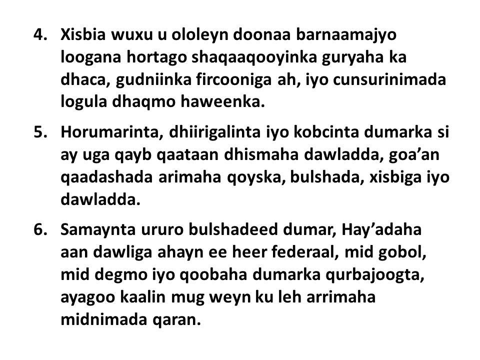 4.Xisbia wuxu u ololeyn doonaa barnaamajyo loogana hortago shaqaaqooyinka guryaha ka dhaca, gudniinka fircooniga ah, iyo cunsurinimada logula dhaqmo haweenka.