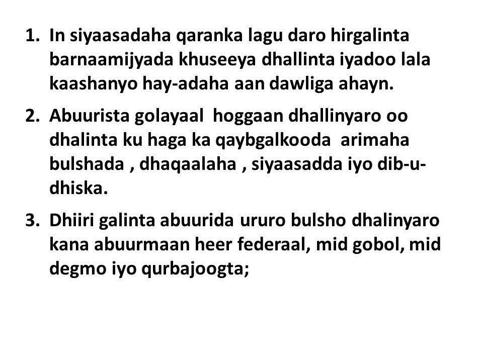 1.In siyaasadaha qaranka lagu daro hirgalinta barnaamijyada khuseeya dhallinta iyadoo lala kaashanyo hay-adaha aan dawliga ahayn.