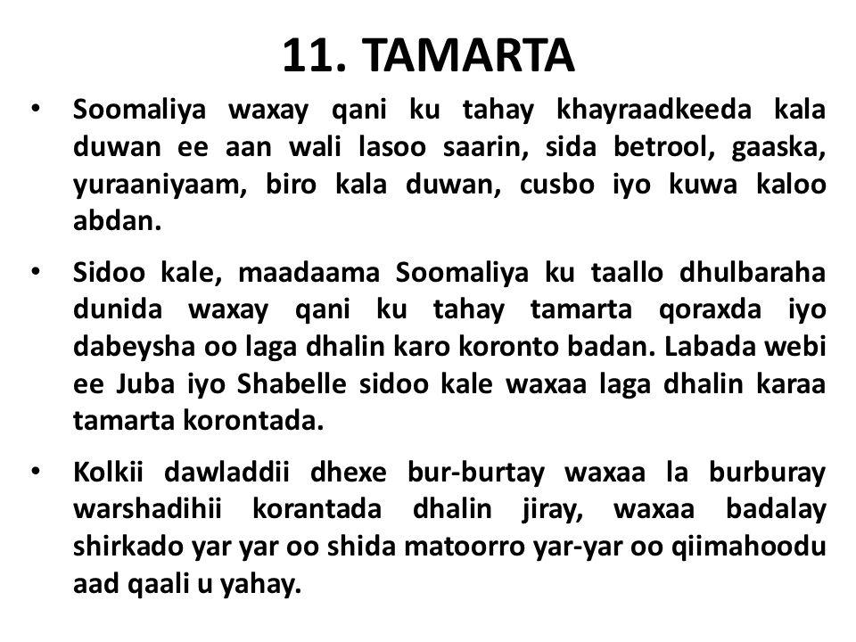 11. TAMARTA Soomaliya waxay qani ku tahay khayraadkeeda kala duwan ee aan wali lasoo saarin, sida betrool, gaaska, yuraaniyaam, biro kala duwan, cusbo