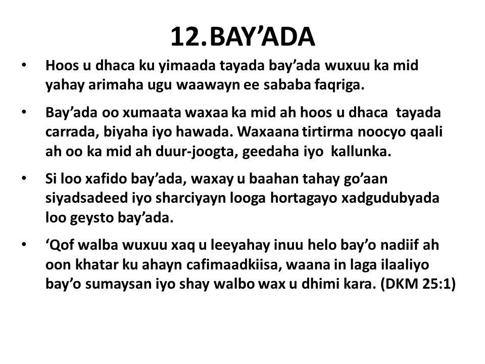 12.BAY'ADA Hoos u dhaca ku yimaada tayada bay'ada wuxuu ka mid yahay arimaha ugu waawayn ee sababa faqriga.