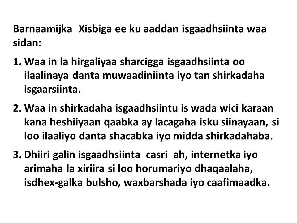 Barnaamijka Xisbiga ee ku aaddan isgaadhsiinta waa sidan: 1.Waa in la hirgaliyaa sharcigga isgaadhsiinta oo ilaalinaya danta muwaadiniinta iyo tan shirkadaha isgaarsiinta.