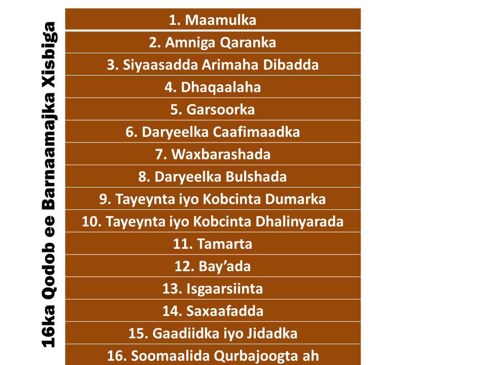 5.Dhaqangelinta waxbarashada aasaasiga oo lacag la'an la siiyo dhamaan caruurta, una siman yihiin ragga iyo haweenka; 6.In la abuuro macaahid teknoolajiyadeed iyo xaruumo soo saara dad leh mihnado farsamo kala duwan, shaqo abuurna u sameeya dad badan; 7.In wax lagu barto Af-ingriis, sidoo kalena Somali iyo carabigu loo qaato luqadda rasmiga ee waxbarashada manhajka iyo barnaamjiyada.