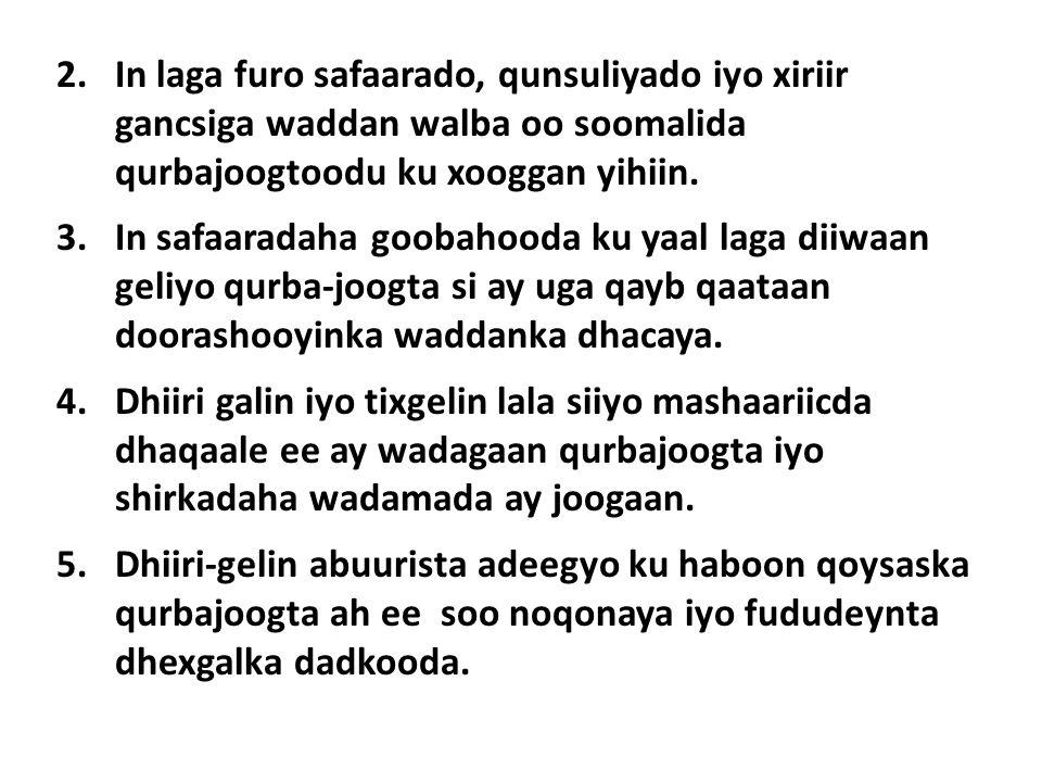 2.In laga furo safaarado, qunsuliyado iyo xiriir gancsiga waddan walba oo soomalida qurbajoogtoodu ku xooggan yihiin.