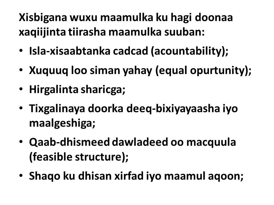 Xisbigana wuxu maamulka ku hagi doonaa xaqiijinta tiirasha maamulka suuban: Isla-xisaabtanka cadcad (acountability); Xuquuq loo siman yahay (equal opurtunity); Hirgalinta sharicga; Tixgalinaya doorka deeq-bixiyayaasha iyo maalgeshiga; Qaab-dhismeed dawladeed oo macquula (feasible structure); Shaqo ku dhisan xirfad iyo maamul aqoon;