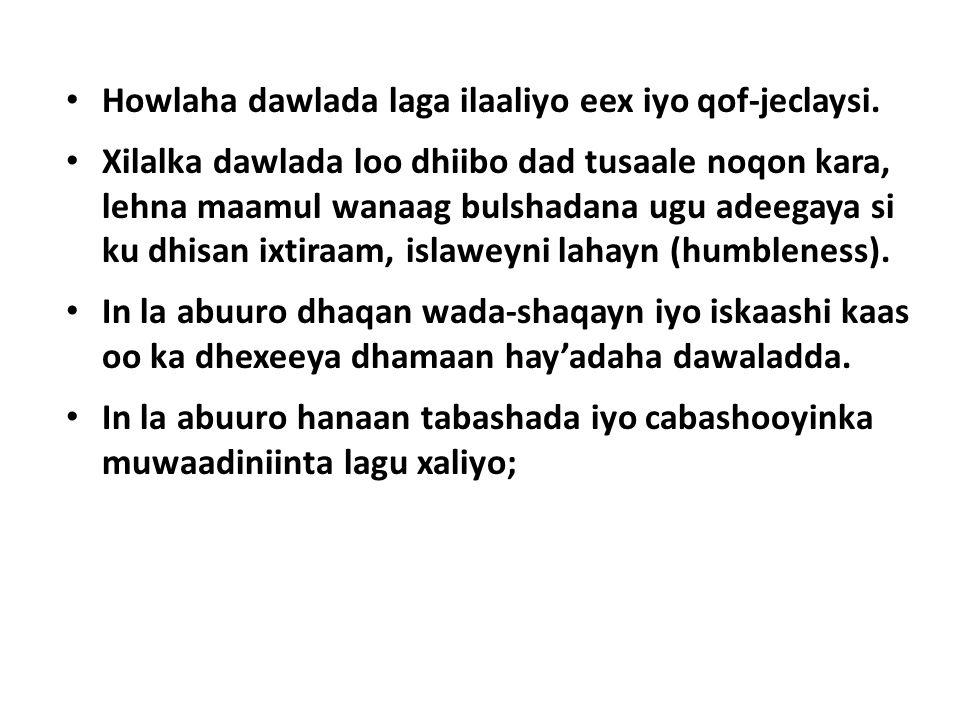 Howlaha dawlada laga ilaaliyo eex iyo qof-jeclaysi.