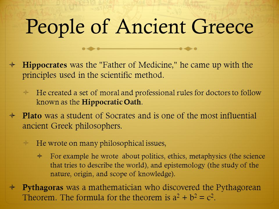 People of Ancient Greece  Hippocrates was the