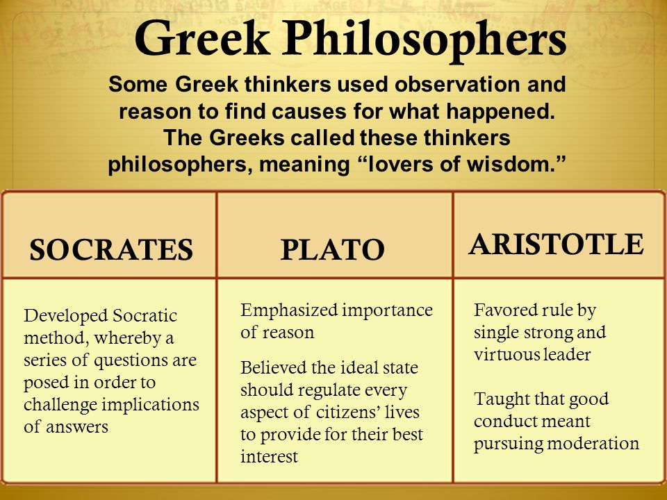 OwlTeacher.com Greek Philosophers Favored rule by single strong and virtuous leader Taught that good conduct meant pursuing moderation Emphasized impo