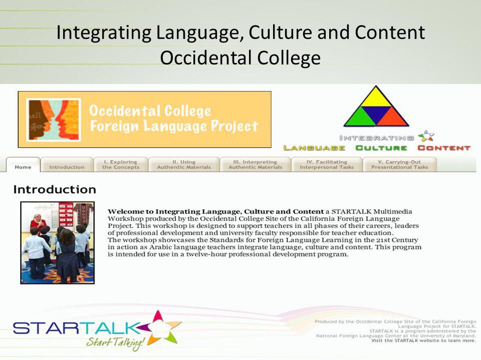 Integrating Language, Culture and Content Occidental College
