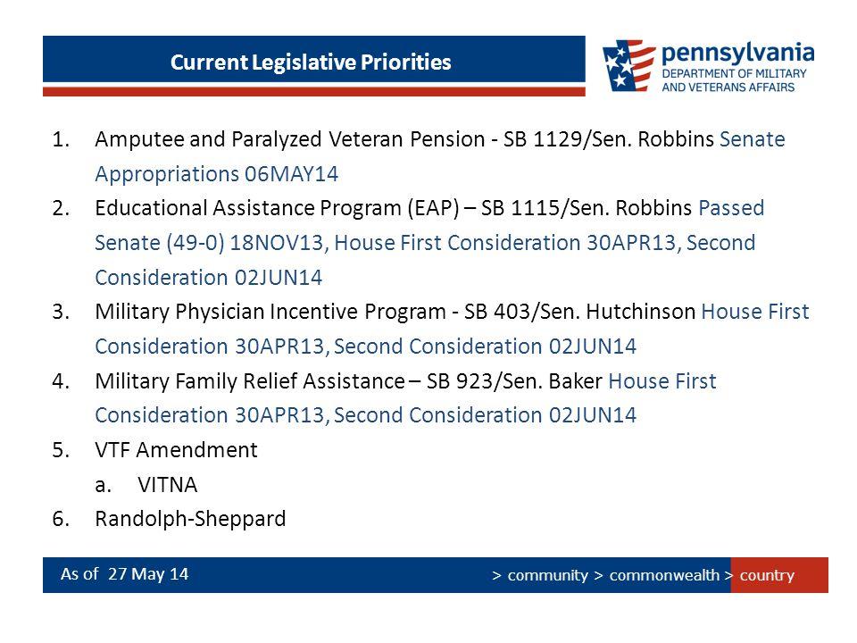 > country > community > commonwealth Current Legislative Priorities 1.Amputee and Paralyzed Veteran Pension - SB 1129/Sen. Robbins Senate Appropriatio
