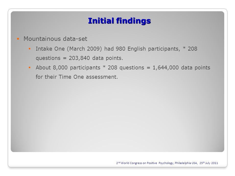 Initial findings  Mountainous data-set  Intake One (March 2009) had 980 English participants, * 208 questions = 203,840 data points.