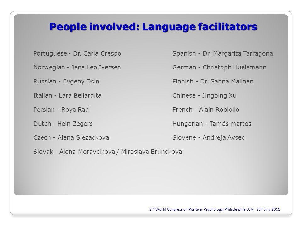 People involved: Language facilitators Portuguese - Dr.