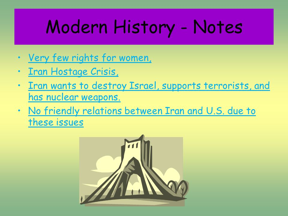 Very few rights for women, Iran Hostage Crisis, Iran wants to destroy Israel, supports terrorists, and has nuclear weapons.