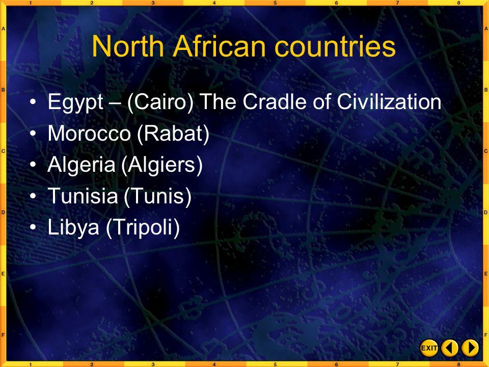 North African countries Egypt – (Cairo) The Cradle of Civilization Morocco (Rabat) Algeria (Algiers) Tunisia (Tunis) Libya (Tripoli)