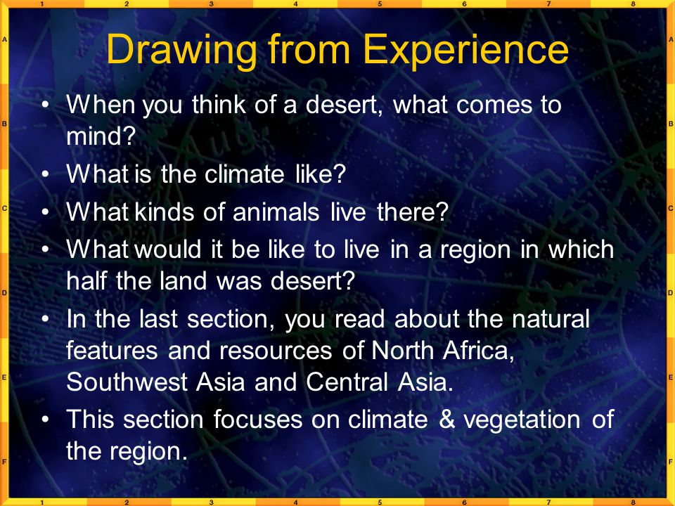 Drawing from Experience When you think of a desert, what comes to mind.