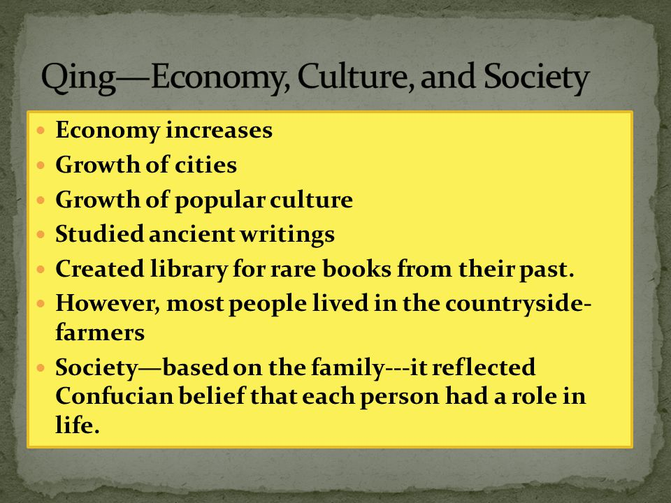 Economy increases Growth of cities Growth of popular culture Studied ancient writings Created library for rare books from their past. However, most pe