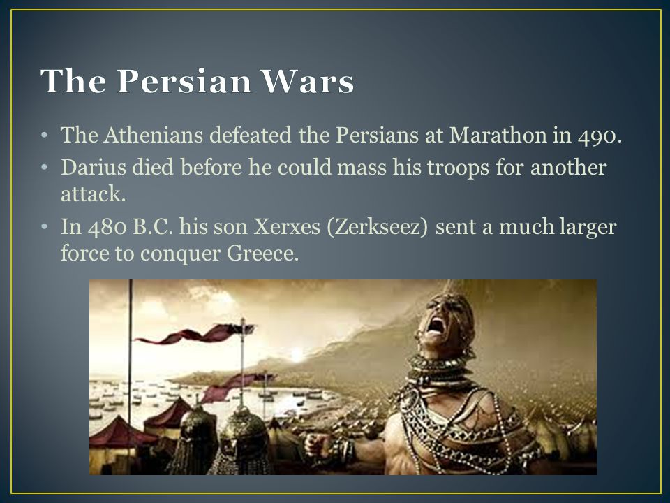 The Athenians defeated the Persians at Marathon in 490.
