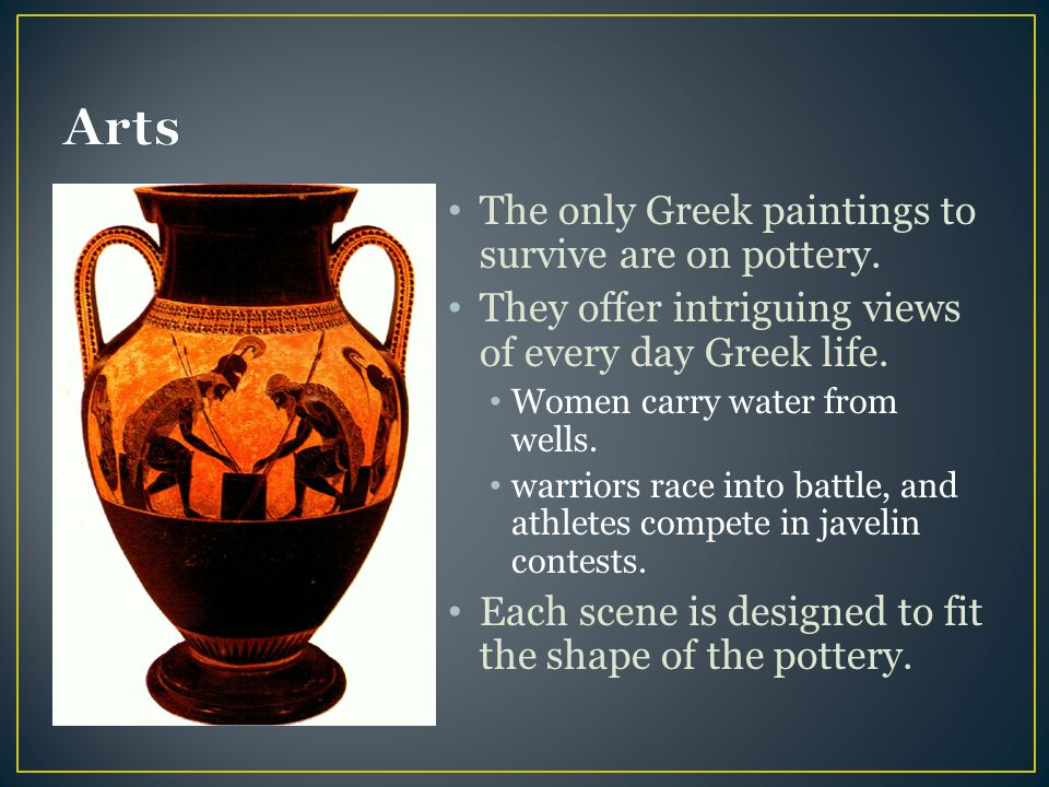The only Greek paintings to survive are on pottery.