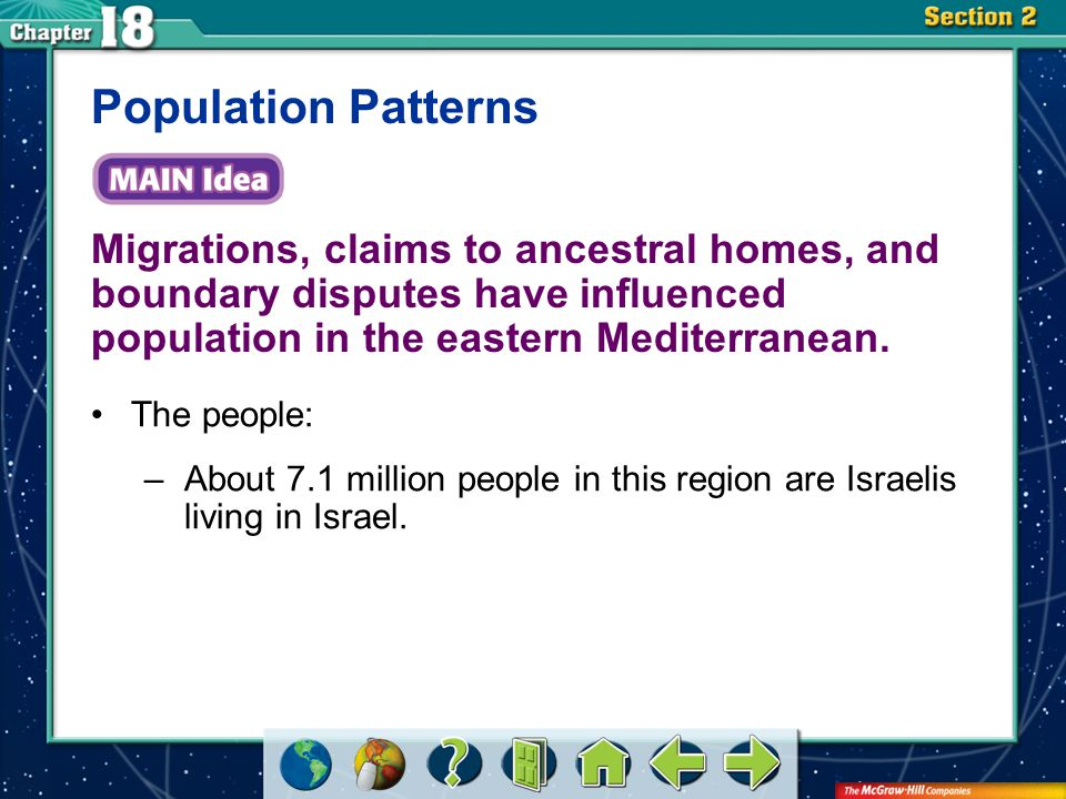 Section 2 Migrations, claims to ancestral homes, and boundary disputes have influenced population in the eastern Mediterranean. Population Patterns Th