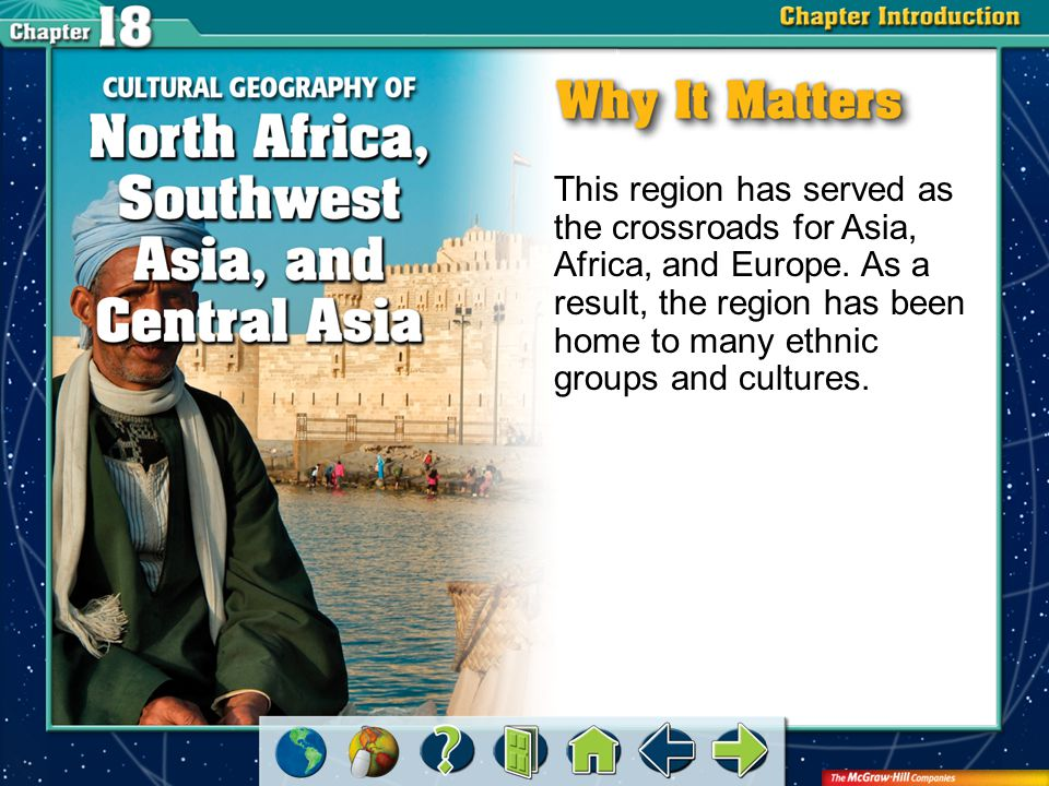 Chapter Intro 1 This region has served as the crossroads for Asia, Africa, and Europe. As a result, the region has been home to many ethnic groups and