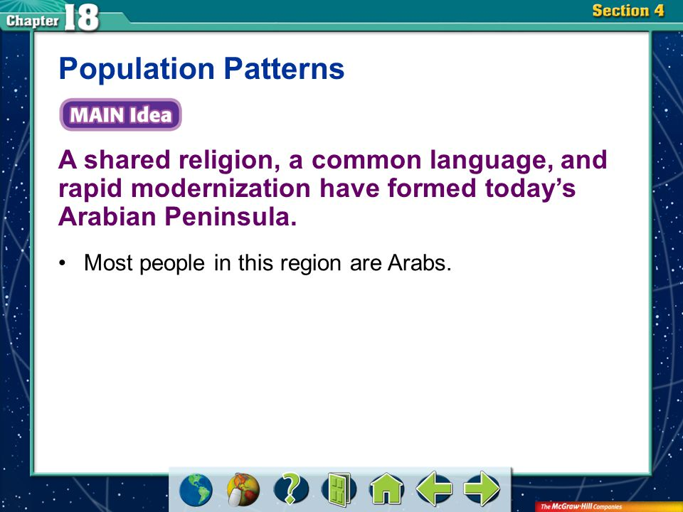 Section 4 A shared religion, a common language, and rapid modernization have formed today's Arabian Peninsula. Population Patterns Most people in this