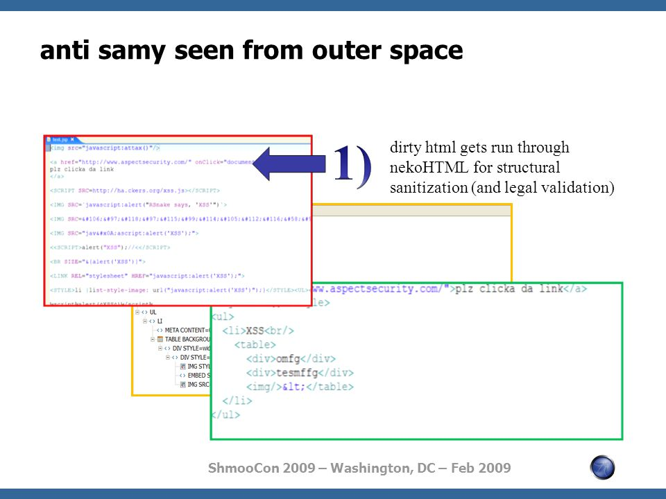 ShmooCon 2009 – Washington, DC – Feb 2009 anti samy seen from outer space dirty html gets run through nekoHTML for structural sanitization (and legal validation)