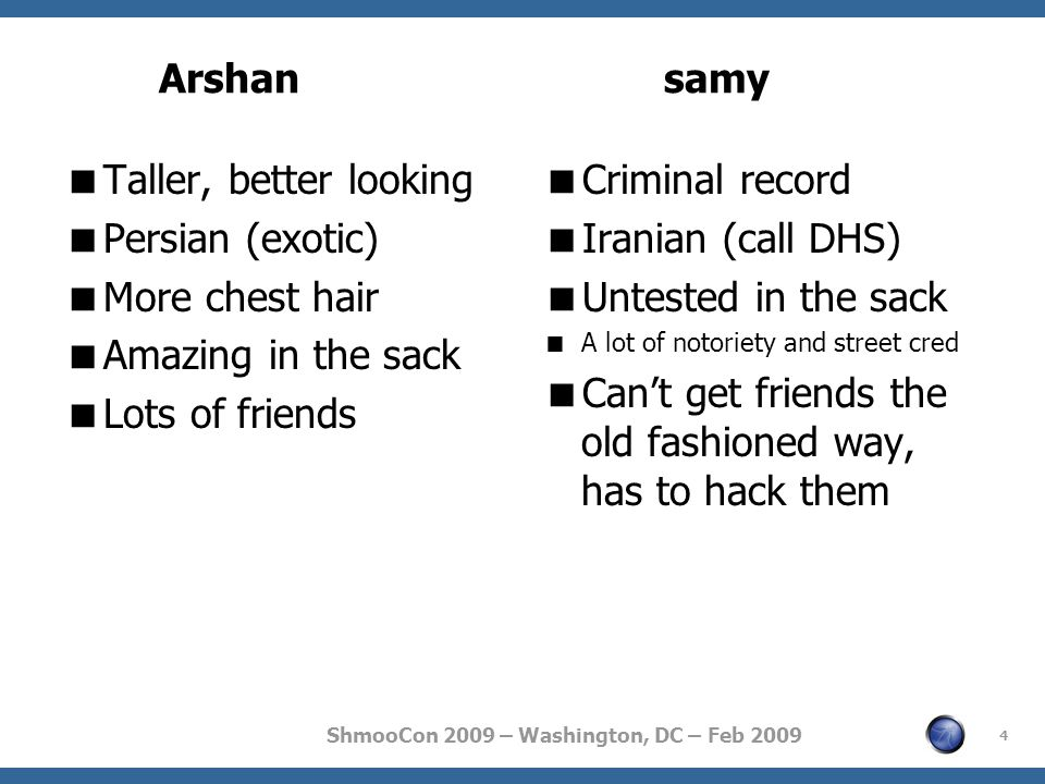 ShmooCon 2009 – Washington, DC – Feb 2009  Taller, better looking  Persian (exotic)  More chest hair  Amazing in the sack  Lots of friends  Criminal record  Iranian (call DHS)  Untested in the sack  A lot of notoriety and street cred  Can't get friends the old fashioned way, has to hack them 4 Arshansamy