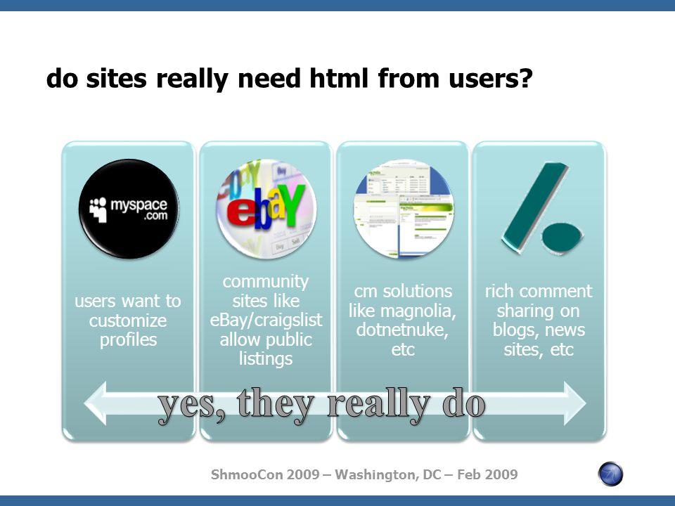 ShmooCon 2009 – Washington, DC – Feb 2009 do sites really need html from users.