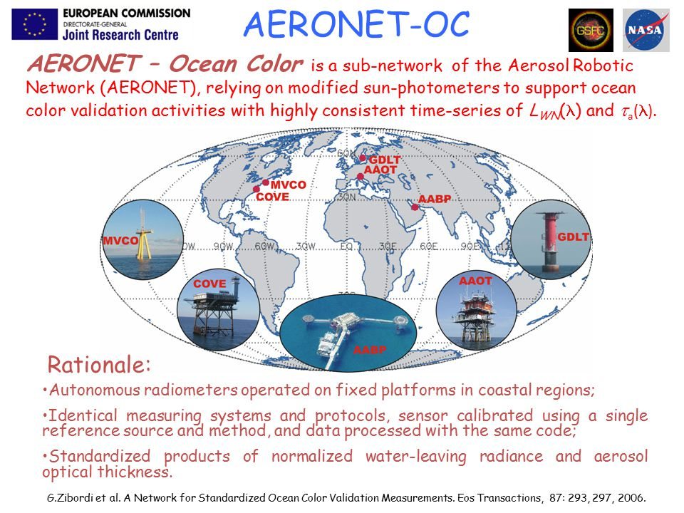 AERONET – Ocean Color is a sub-network of the Aerosol Robotic Network (AERONET), relying on modified sun-photometers to support ocean color validation activities with highly consistent time-series of L WN ( ) and  a ( ).