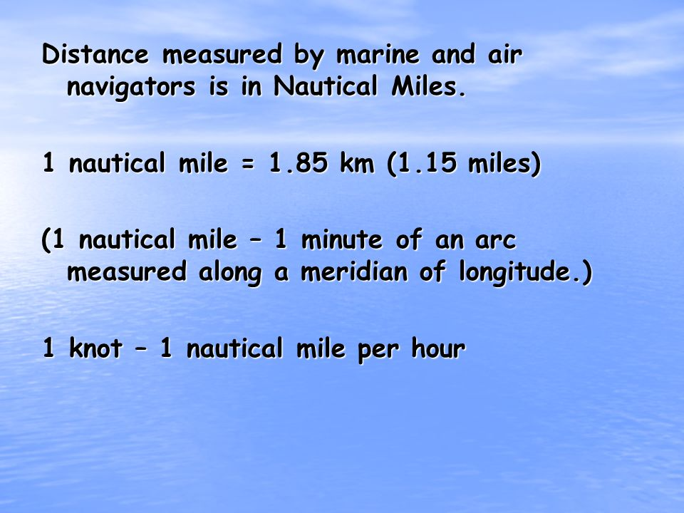 Distance measured by marine and air navigators is in Nautical Miles.