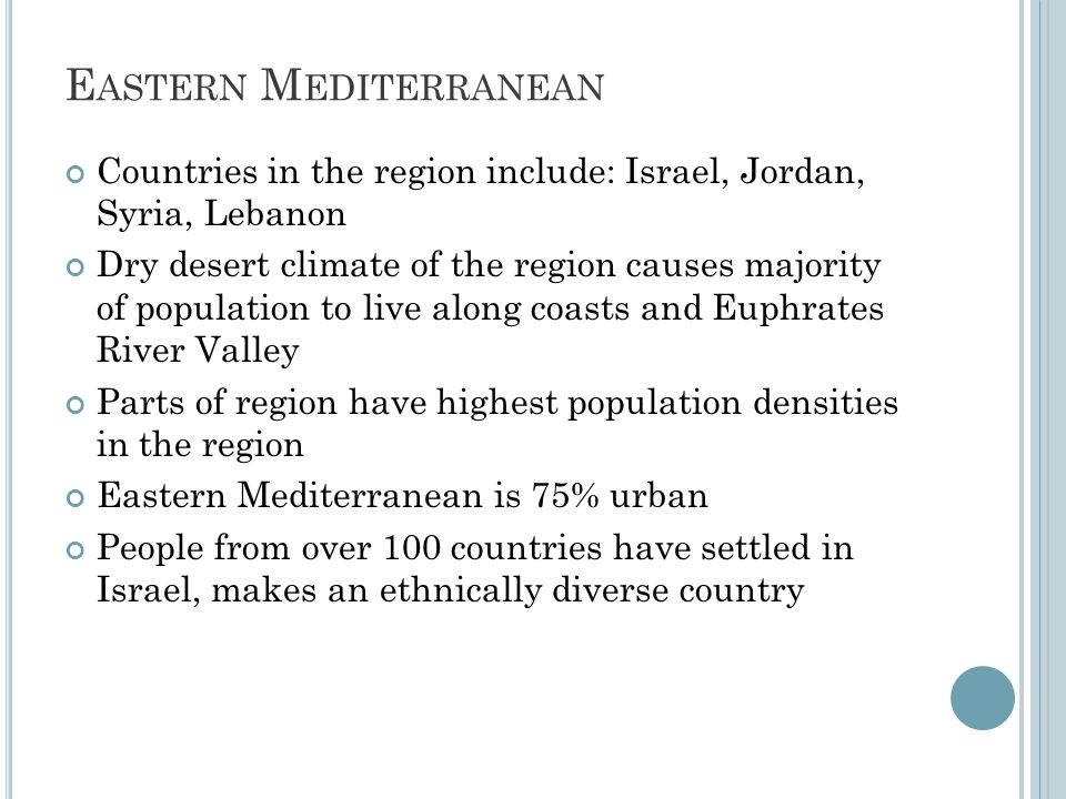 E ASTERN M EDITERRANEAN Countries in the region include: Israel, Jordan, Syria, Lebanon Dry desert climate of the region causes majority of population