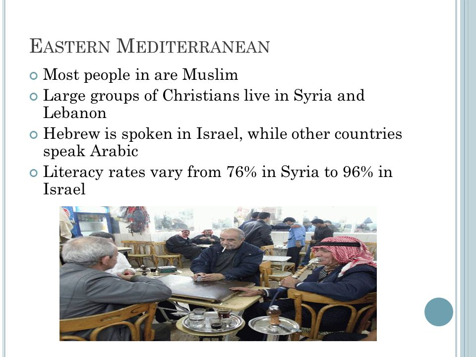 E ASTERN M EDITERRANEAN Most people in are Muslim Large groups of Christians live in Syria and Lebanon Hebrew is spoken in Israel, while other countri