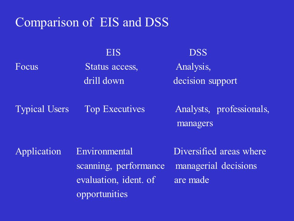 Comparison of EIS and DSS EIS DSS Focus Status access, Analysis, drill down decision support Typical Users Top Executives Analysts, professionals, managers Application Environmental Diversified areas where scanning, performance managerial decisions evaluation, ident.