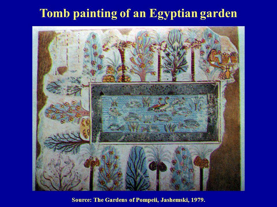 Source: The Gardens of Pompeii, Jashemski, 1979. Tomb painting of an Egyptian garden