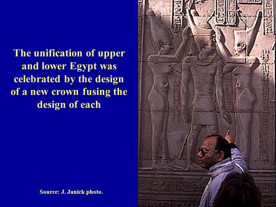 Source: J. Janick photo. The unification of upper and lower Egypt was celebrated by the design of a new crown fusing the design of each