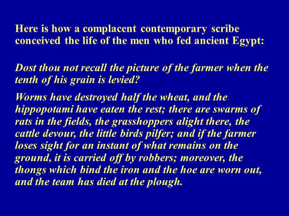 Here is how a complacent contemporary scribe conceived the life of the men who fed ancient Egypt: Dost thou not recall the picture of the farmer when the tenth of his grain is levied.