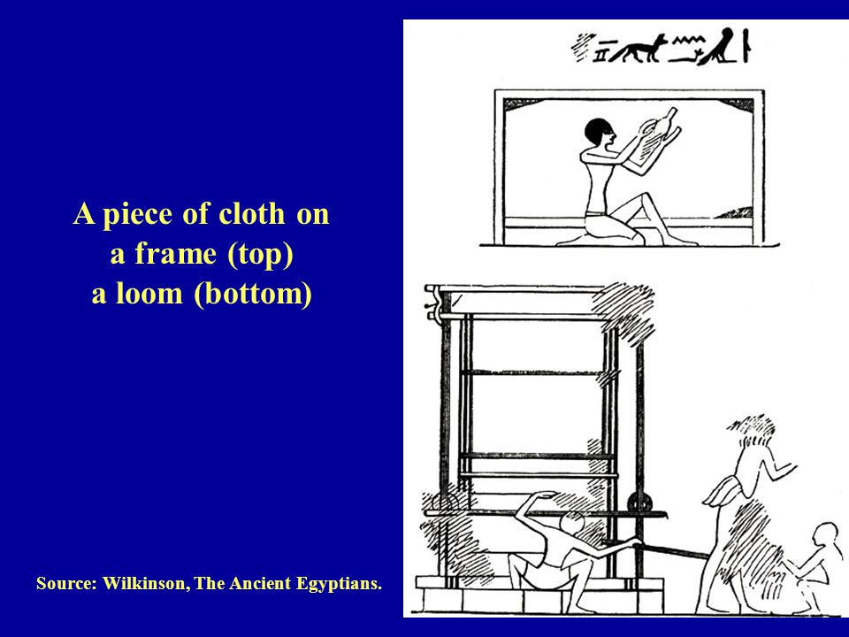 Source: Wilkinson, The Ancient Egyptians. A piece of cloth on a frame (top) a loom (bottom)