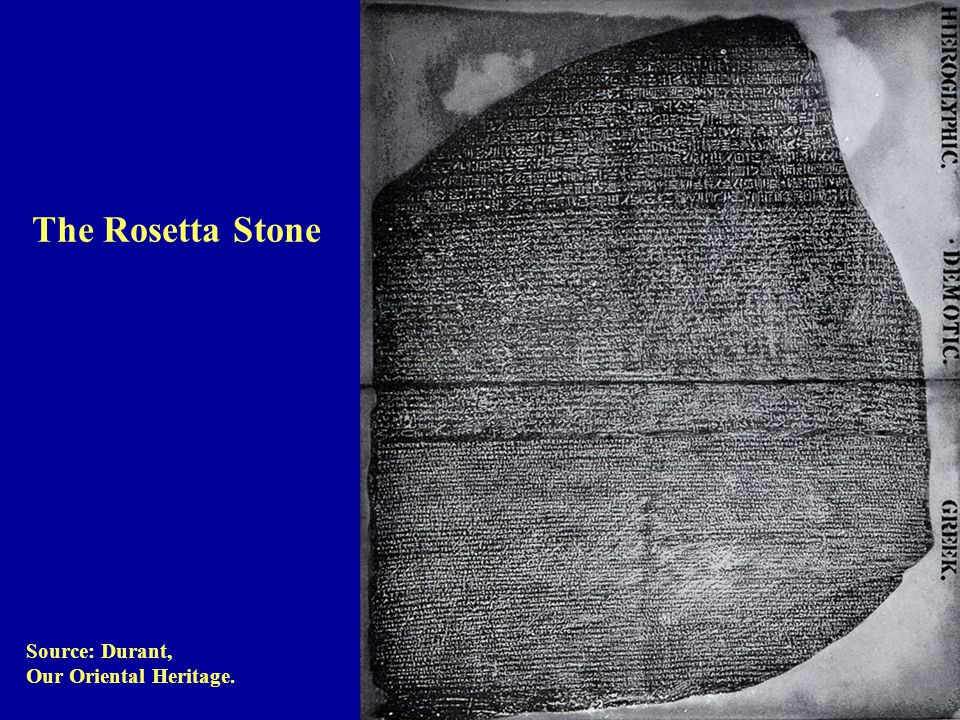 Source: Durant, Our Oriental Heritage. The Rosetta Stone