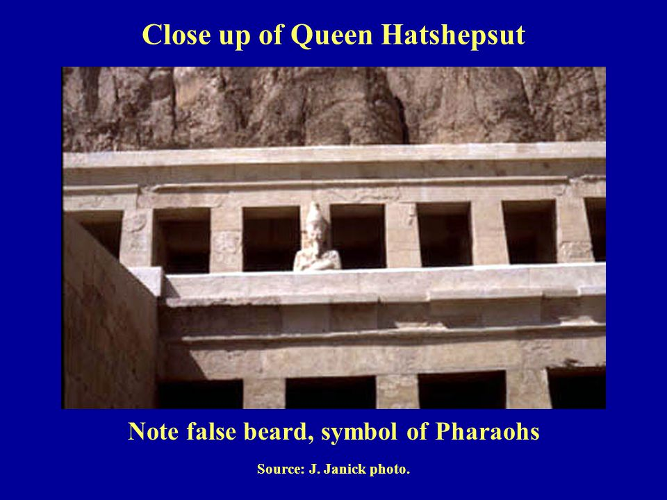Note false beard, symbol of Pharaohs Source: J. Janick photo. Close up of Queen Hatshepsut