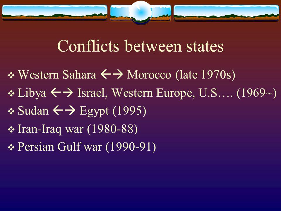 Conflicts between states  Western Sahara  Morocco (late 1970s)  Libya  Israel, Western Europe, U.S….