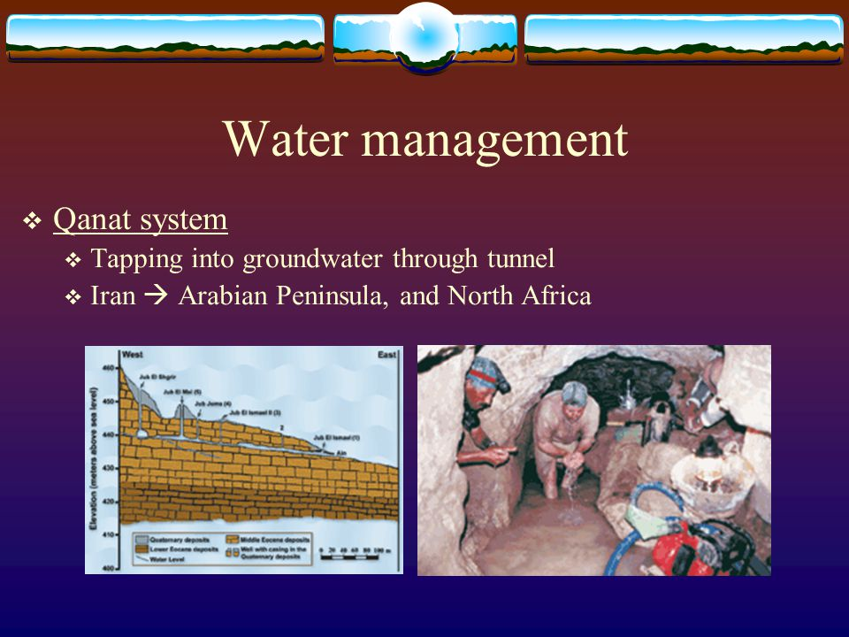 Water management  Qanat system  Tapping into groundwater through tunnel  Iran  Arabian Peninsula, and North Africa
