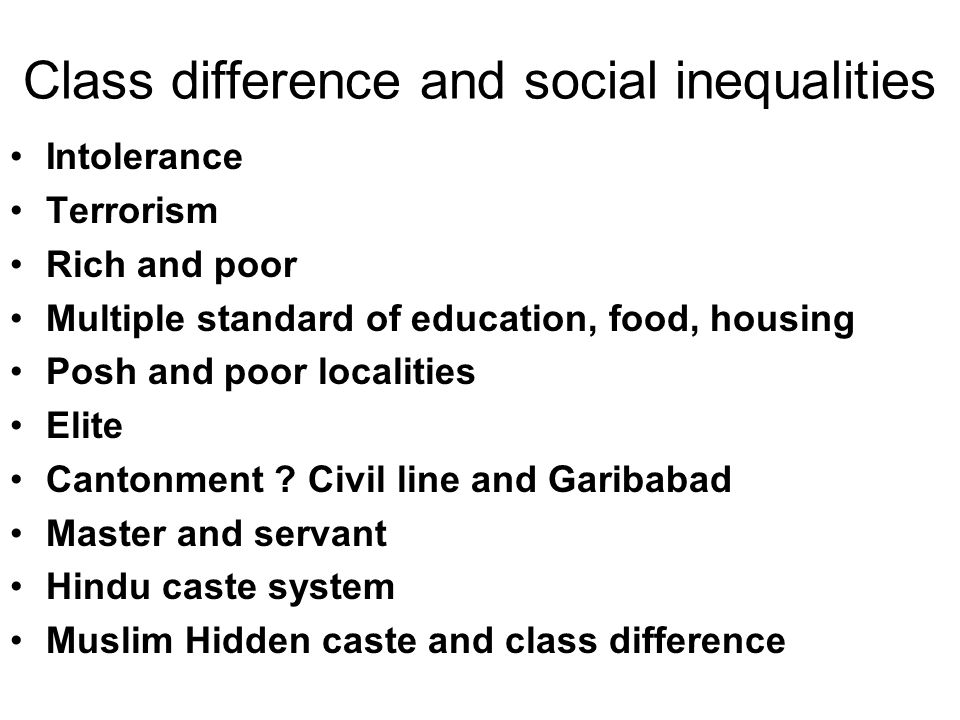 Class difference and social inequalities Intolerance Terrorism Rich and poor Multiple standard of education, food, housing Posh and poor localities El