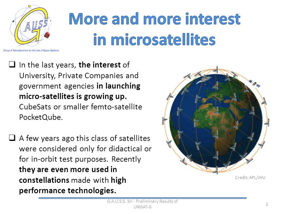 2  In the last years, the interest of University, Private Companies and government agencies in launching micro-satellites is growing up.