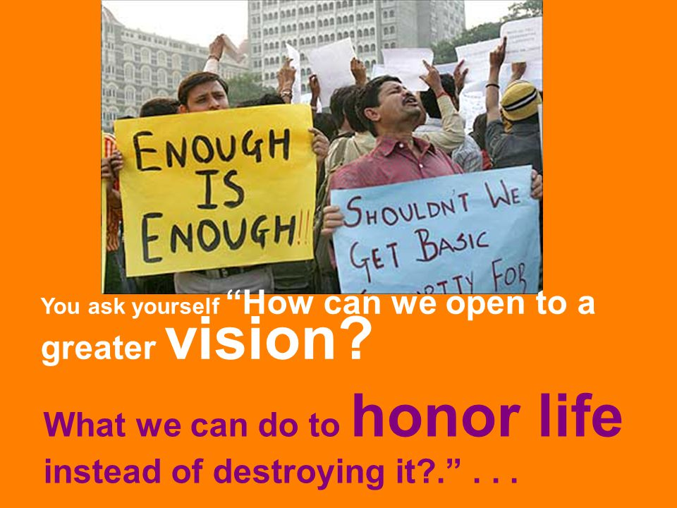 """What we can do to honor life instead of destroying it?.""""... You ask yourself """"How can we open to a greater vision?"""
