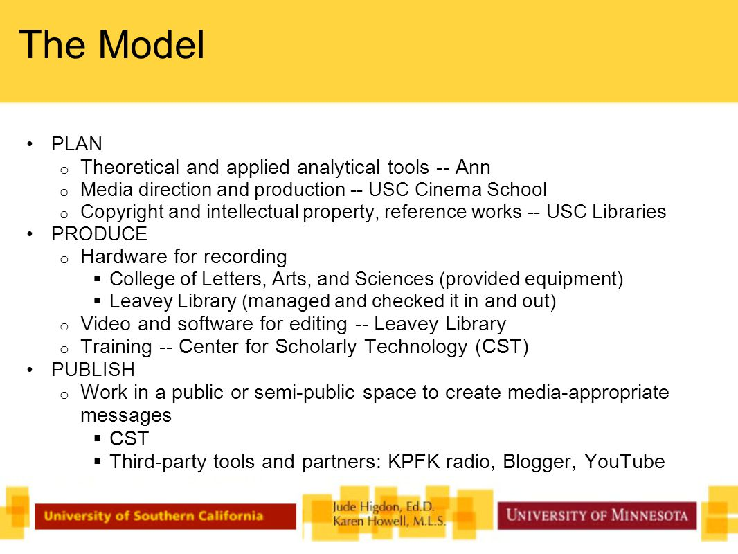 The Model PLAN o Theoretical and applied analytical tools -- Ann o Media direction and production -- USC Cinema School o Copyright and intellectual property, reference works -- USC Libraries PRODUCE o Hardware for recording  College of Letters, Arts, and Sciences (provided equipment)  Leavey Library (managed and checked it in and out) o Video and software for editing -- Leavey Library o Training -- Center for Scholarly Technology (CST) PUBLISH o Work in a public or semi-public space to create media-appropriate messages  CST  Third-party tools and partners: KPFK radio, Blogger, YouTube