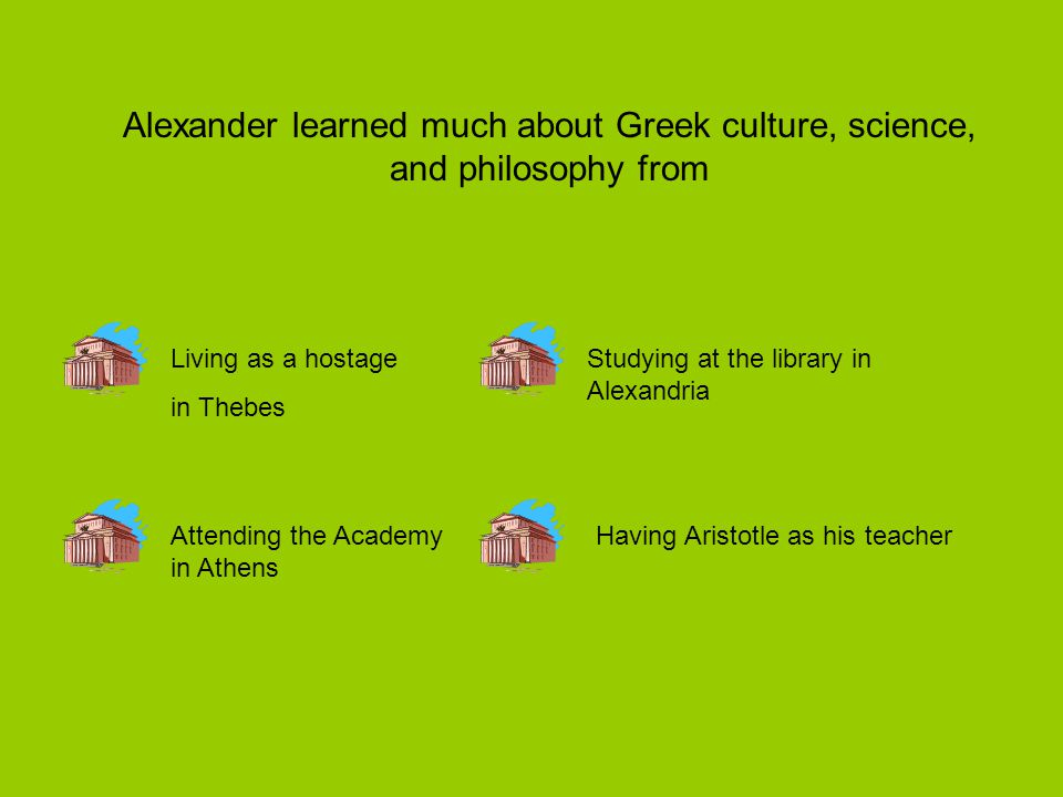 Alexander learned much about Greek culture, science, and philosophy from Living as a hostage in Thebes Attending the Academy in Athens Having Aristotle as his teacher Studying at the library in Alexandria