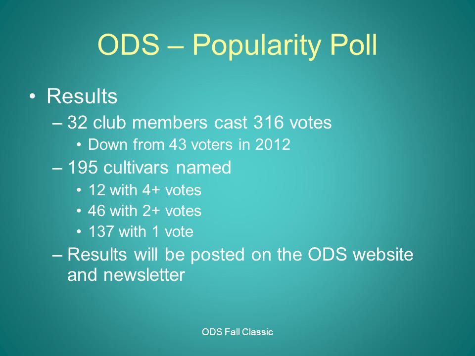 ODS Fall Classic ODS – Popularity Poll Results –32 club members cast 316 votes Down from 43 voters in 2012 –195 cultivars named 12 with 4+ votes 46 with 2+ votes 137 with 1 vote –Results will be posted on the ODS website and newsletter